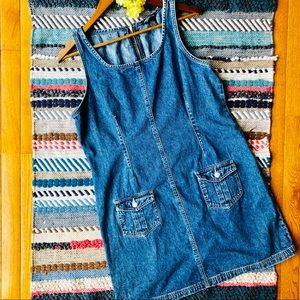 American Eagle Zipper Back Denim Jumper Dress
